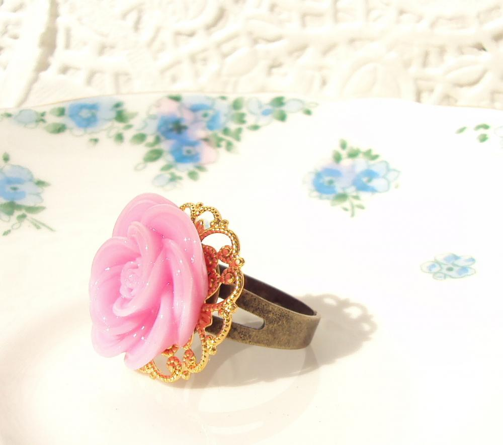 Blushing Bride - Pink Flower Ring Adjustable