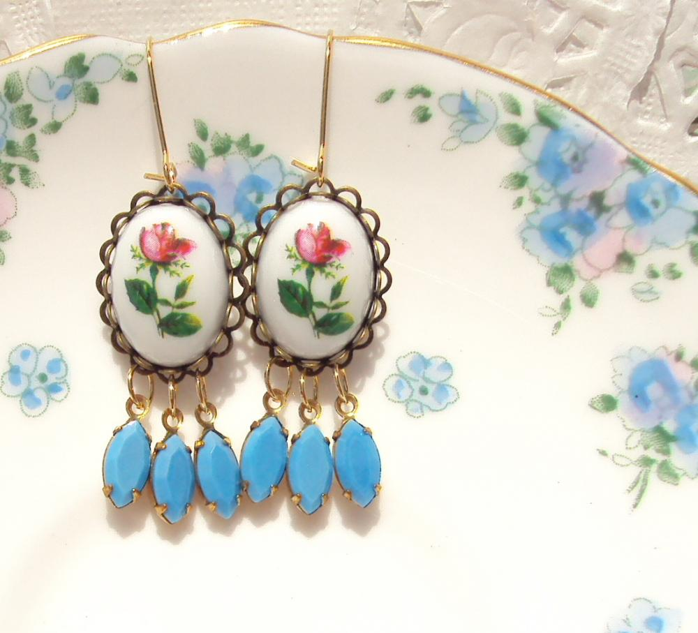 Everythings Turning Up Roses - Vintage Rose and Jewel Earrings
