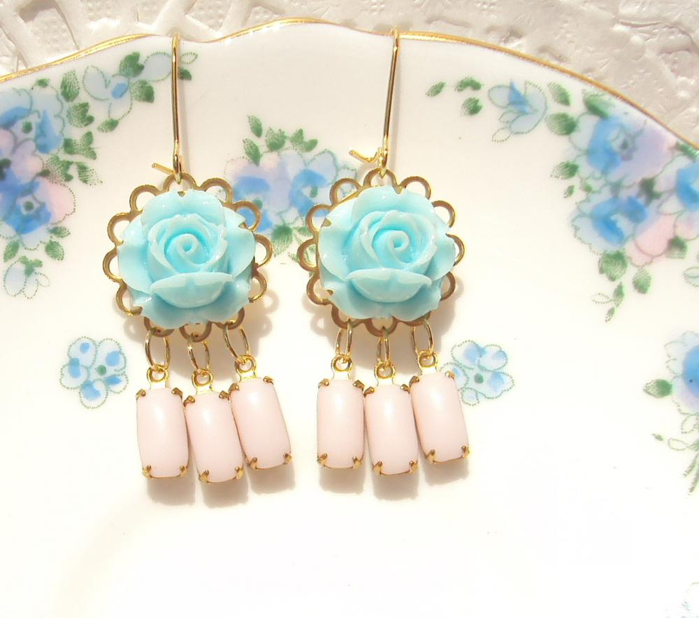 Bonnie Blue - Vintage Jewel and Flower Earrings - Whimsical - Bridal - Bridesmaid