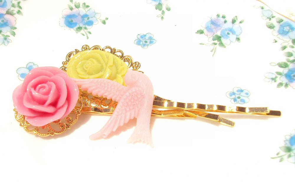 Garden Delight - Flower and Sparrow Bobby Pin Set