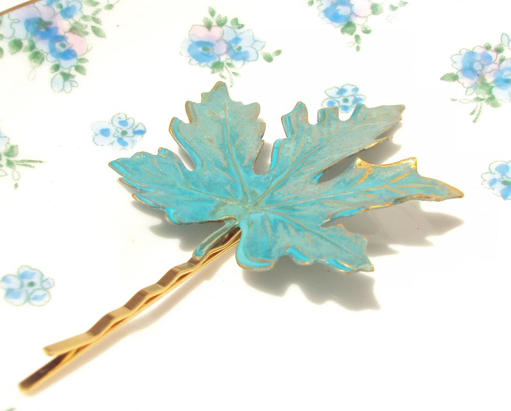 Large Verdigris Leaf Hair Pin - Woodland