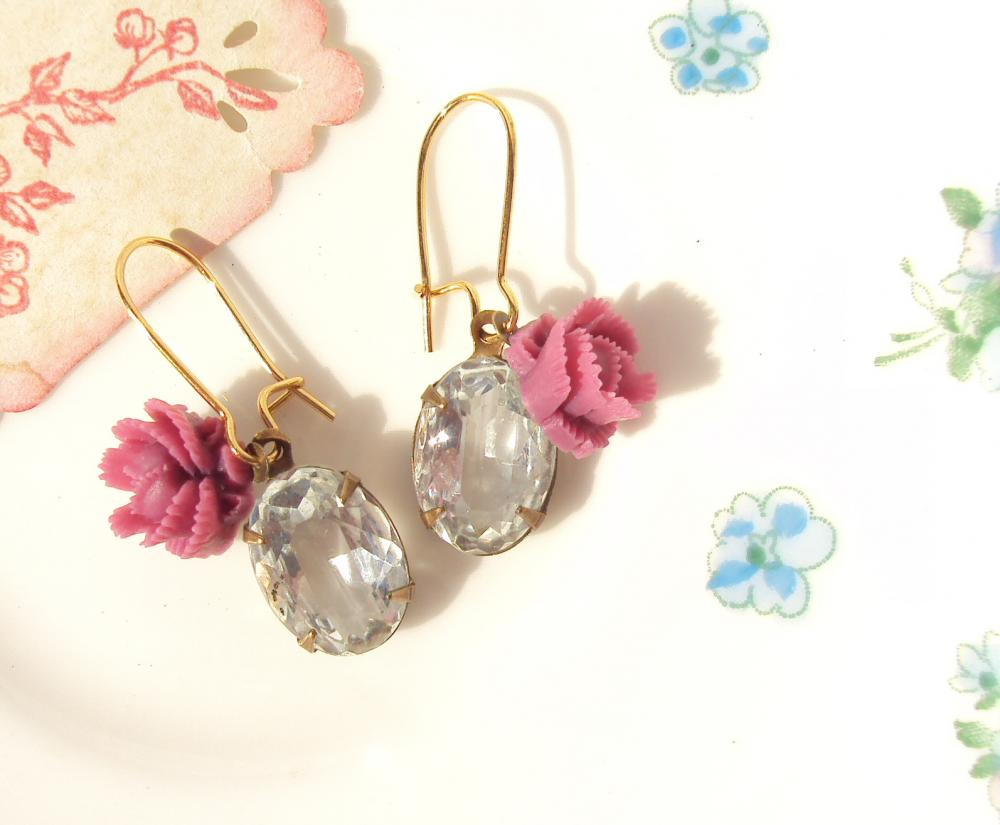 Gypsy Rose - Vintage Crystal Jewel Earrings
