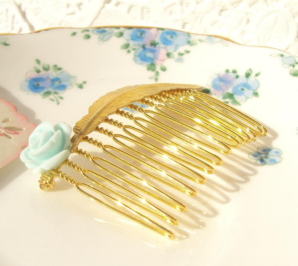 Something Borrowed Something Blue - Feather and Flower Hair Comb Gold