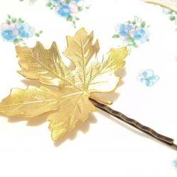 Large Gold Leaf Hair Pin - Bobby Pin - Woodland